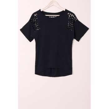 Stylish Scoop Neck Short Sleeve Hollow Out Solid Color Women's T-Shirt