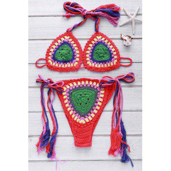 Ethnic Style Halter Neck Backless Colorful Crochet Women's Bikini Set