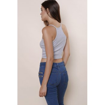 Sexy Sleeveless Scoop Neck Solid Color Women's Crop Top - GRAY S