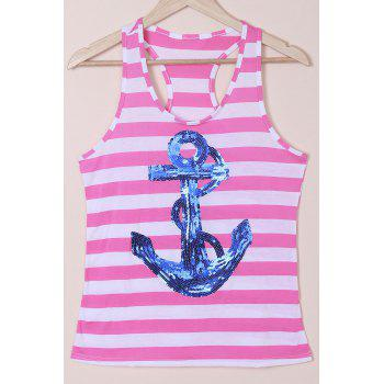 Casual Women's Scoop Neck Striped Sequined Anchor Tank Top