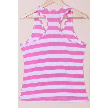Casual Women's Scoop Neck Striped Sequined Anchor Tank Top - BLUE S