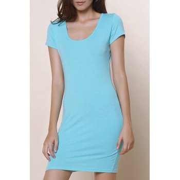 Stylish Solid Color Short Sleeve U-Neck Women's Bodycon Dress