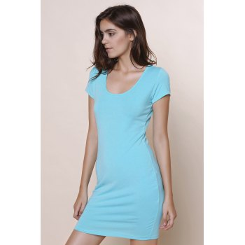 Stylish Solid Color Short Sleeve U-Neck Women's Bodycon Dress - BLUE L
