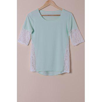 Stylish Scoop Neck Lace Spliced Half Sleeve Women's T-Shirt