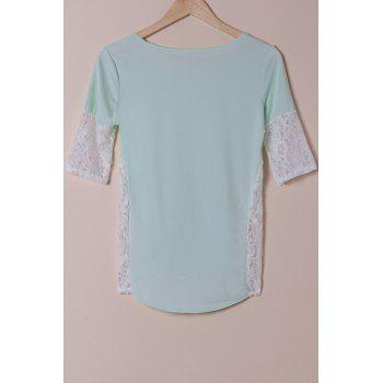 Stylish Scoop Neck Lace Spliced Half Sleeve Women's T-Shirt - LIGHT BLUE M