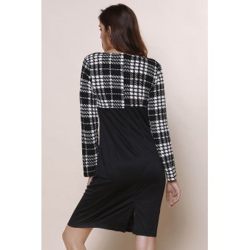 Elegant Plaid Splicing Round Collar Long Sleeve Dress For Women - BLACK S