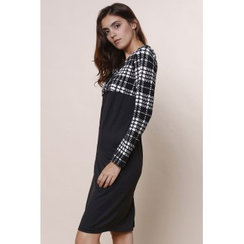 Elegant Plaid Splicing Round Collar Long Sleeve Dress For Women - BLACK XL