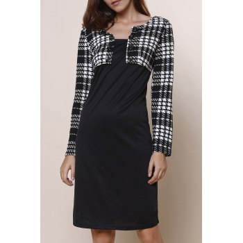 Round Collar Plaid Splicing Long Sleeve Dress For Women