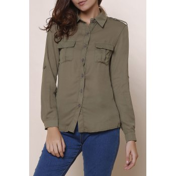 Simple Solid Color Polo Collar Long Sleeve Blouse For Women