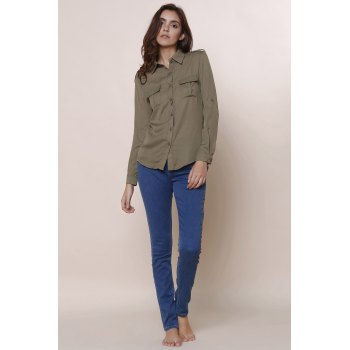 Simple Solid Color Polo Collar Long Sleeve Blouse For Women - ARMY GREEN S