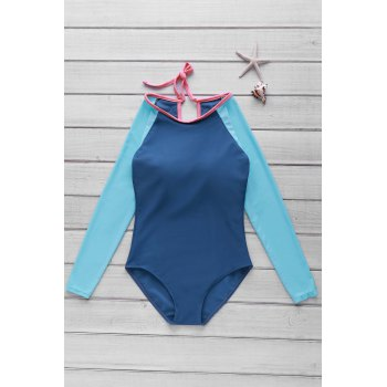 Stylish Scoop Neck Long Sleeve Women's Hollow Out One-Piece Swimsuit