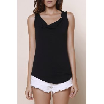 Brief Black Cowl Neck Sleeveless T-Shirt For Women
