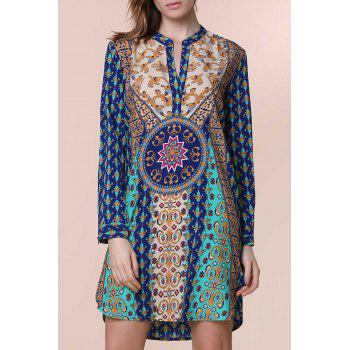 Ethnic Women's V-Neck Long Sleeve Printed Dress