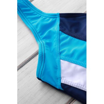 Sexy Style U Neck Color Block Criss-Cross Backless One-Piece Women's Swimsuit - BLUE M