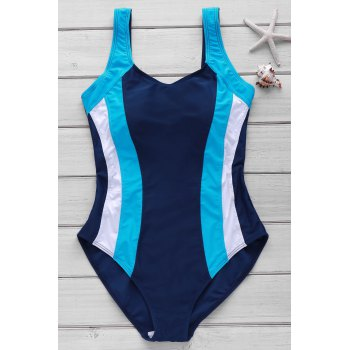 Sexy Style U Neck Color Block Criss-Cross Backless One-Piece Women's Swimsuit