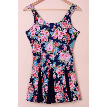 Sweet Women's Scoop Neck Tiny Floral Print Swimsuit