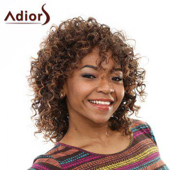 Elegant Brown Mixed Medium Capless Fluffy Curly Side Bang Women's Wig - BROWN BROWN