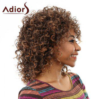 Elegant Brown Mixed Medium Capless Fluffy Curly Side Bang Women's Wig - BROWN
