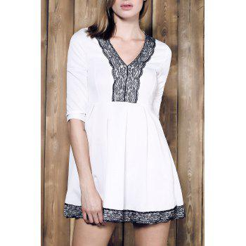Lace Spliced Plunging Neck 3 4 Sleeve Pleated Mini Dress