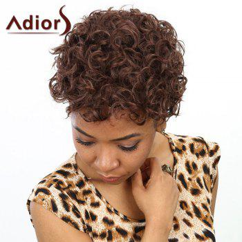 Fashion Short Dark Brown Heat Resistant Fiber Towheaded Afro Curly Wig For Women - DEEP BROWN