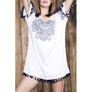 Ethnic Style Women's V-Neck Half Sleeve Fringed Printed Dress