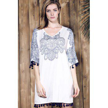 Ethnic Style Women's V-Neck Half Sleeve Fringed Printed Dress - WHITE ONE SIZE(FIT SIZE XS TO M)