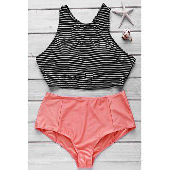 Stylish Stripe Print Crop Top and High Waist Briefs Tankini For Women
