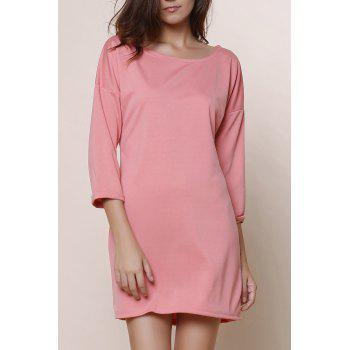 Fashionable Solid Color Scoop Neck Short Sleeve Dress