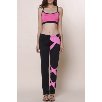 Active Color Block Spaghetti Strap Crop Top and Pants Twinset For Women