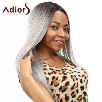 Stylish Silky Straight Long Two-Tone Ombre Middle Part Synthetic Wig For Women - BLACK/GREY