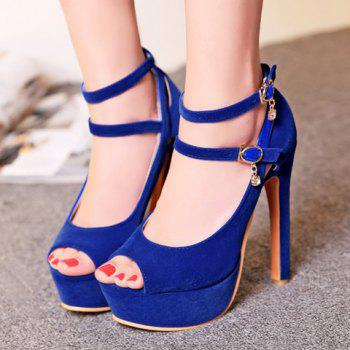 Stylish Hollow Out and Double Buckle Design Women's Peep Toe Shoes - BLUE 38