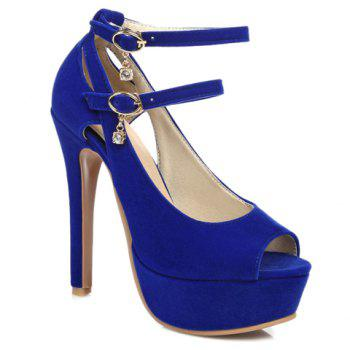 Stylish Hollow Out and Double Buckle Design Women's Peep Toe Shoes
