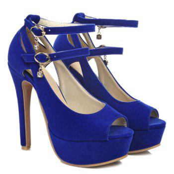 Stylish Hollow Out and Double Buckle Design Women's Peep Toe Shoes - 38 38