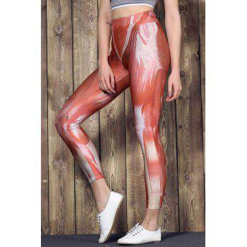 Fashionable Muscle Printed High Waist Bodycon Sport Pants For Women - COLORMIX COLORMIX