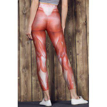 Fashionable Muscle Printed High Waist Bodycon Sport Pants For Women - L L