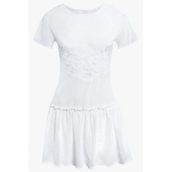 Lace Spliced Short Sleeve Jewel Neck Pleated Dress