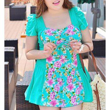 Fashionable Plus Size Cut Out Floral Print One Piece Women's Swimwear