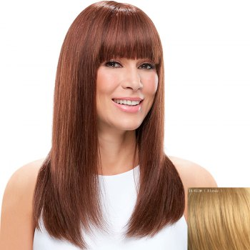 Vogue Long Charming Silky Straight Full Bang Capless Real Natural Hair Wig For Women - BLONDE BLONDE