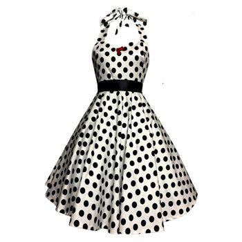 Polka Dot Halter 50s Swing Dress
