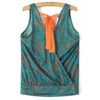 Chic V Neck Printed Criss-Cross Loose Women's Tank Top