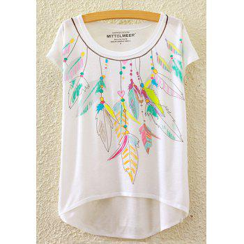 Stylish Round Neck Short Sleeve Colorful Feather Print High-Low Hem Women's T-Shirt