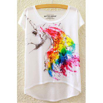 Stylish Round Neck Short Sleeve Colorful Unicorn Print High-Low Hem Women's T-Shirt