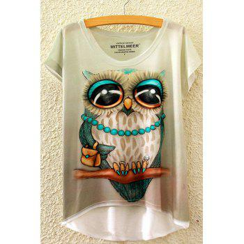 Leisure Style Round Neck Short Sleeve Owl Print High-Low Hem Women's T-Shirt