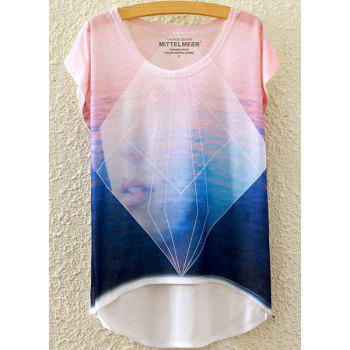 Stylish Round Neck Short Sleeve Geometric and Abstract Figure Print High-Low Hem Women's T-Shirt