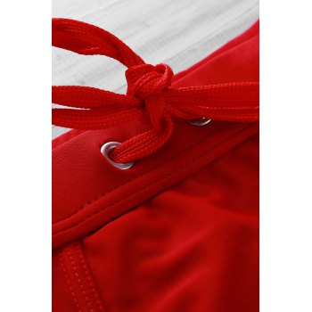 Color Block Logo Pattern Design Lace-Up Men's Boxer Swimming Trunks - RED RED