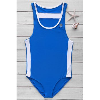 Hit Color Letters Logo Pattern U Convex Pouch Design Men's One-Piece Swimming Suit - BLUE S