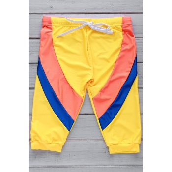 Lace Up Color Block Five Pants Men's Swimming Trunks - YELLOW YELLOW