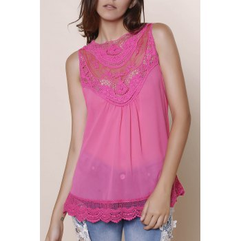 Sweet Solid Color Cut Out Lace Spliced Tank Top For Women
