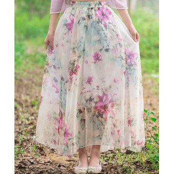 Elegant High Waisted Floral Print Women's Long Chiffon  Skirt