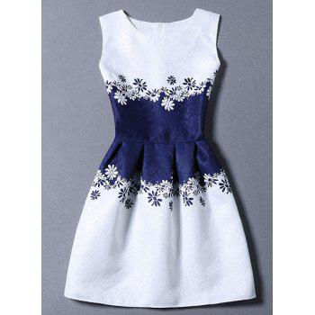 Chic Women's Round Collar Flower Print Zippered Sleeveless Dress For Women